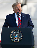 United States President Donald J. Trump makes remarks as he and first lady Melania Trump participate in the arrival ceremony in honor of Prime Minister Scott Morrison of Australia and his wife, Jenny Morrison on the South Lawn of the White House in Washington, DC on Friday, September 20, 2019.<br /> Credit: Ron Sachs / CNP