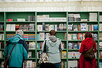 Thursday 22 May 2014<br /> Pictured:Views inside the bookshop at the Hay festival <br /> Re: Hay Festival takes place at Hay on Wye, Powys, Wales
