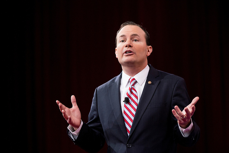 UNITED STATES - FEBRUARY 26: Sen. Mike Lee, R-Utah, speaks to the crowd at CPAC in National Harbor, Md., on Feb. 26, 2015. (Photo By Bill Clark/CQ Roll Call)