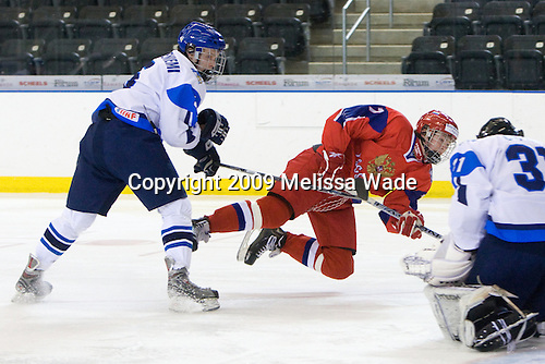 Lauri Kärmeniemi (Finland - 5), Evgeny Kuznetsov (Russia - 7) - Russia defeated Finland 4-0 at the Urban Plains Center in Fargo, North Dakota, on Friday, April 17, 2009, in their semi-final match during the 2009 World Under 18 Championship.