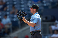 Home plate umpire Chris Graham works the International League game between the Scranton/Wilkes-Barre RailRiders and the Gwinnett Stripers at Coolray Field on August 18, 2019 in Lawrenceville, Georgia. The RailRiders defeated the Stripers 9-3. (Brian Westerholt/Four Seam Images)