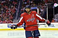 WASHINGTON, DC - FEBRUARY 05: Washington Capitals left wing Alex Ovechkin (8) glares during the Vancouver Canucks vs. the Washington Capitals NHL game at Capital One Arena in Washington, D.C.. (Photo by Randy Litzinger/Icon Sportswire)