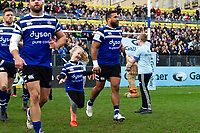 Cooper Vuna of Bath Rugby mascot in hand runs out onto the field. Gallagher Premiership match, between Bath Rugby and Harlequins on March 2, 2019 at the Recreation Ground in Bath, England. Photo by: Patrick Khachfe / Onside Images