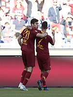 Football, Serie A: AS Roma - Cagliari, Olympic stadium, Rome, April 27, 2019. <br /> Roma's Federico Fazio (l) celebrates after scoring with his teammate Lorenzo Pellegrini (r) during the Italian Serie A football match between AS Roma and Cagliari, on April 27, 2019. <br /> UPDATE IMAGES PRESS/Isabella Bonotto