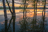 Belle Fourche National Wildlife Refuge, South Dakota:<br /> Evening reflections at dusk, Rocky Point Recreation Area