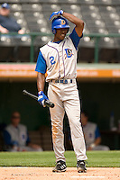 Durham Bulls shortstop B.J. Upton (2) adjusts his batting helmet between pitches in game action versus the Charlotte Knights at Knights Stadium in Fort Mill, SC, Monday, April 24, 2006.  Durham defeated Charlotte 5-3.