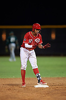AZL Reds Debby Santana (52) asks for time during an Arizona League game against the AZL Athletics Green on July 21, 2019 at the Cincinnati Reds Spring Training Complex in Goodyear, Arizona. The AZL Reds defeated the AZL Athletics Green 8-6. (Zachary Lucy/Four Seam Images)