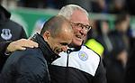 Leicester City Manager Claudio Ranieri embraces Everton manager Roberto Martinez<br /> - Barclays Premier League - Everton vs Leicester City - Goodison Park - Liverpool - England - 19th December 2015 - Pic Robin Parker/Sportimage