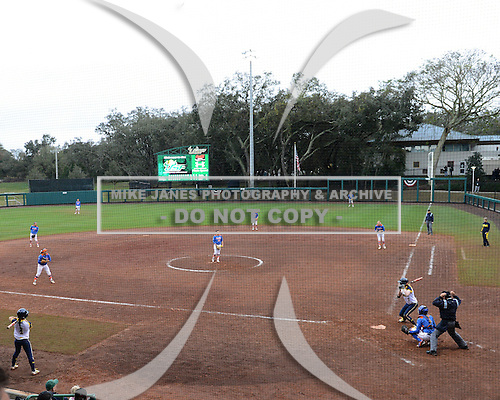 General view of the Michigan Wolverines season opener against the Florida Gators on February 8, 2014 at the USF Softball Stadium in Tampa, Florida.  Florida defeated Michigan 9-4 in extra innings.  (Copyright Mike Janes Photography)