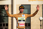 Pierre Luc Perichon (FRA) Fortuneo-Samsic wears the first most aggresive rider Jersey on the podium at the end of Stage 1 of the 2018 Tour of Oman running 162.5km from Nizwa to Sultan Qaboos University. 13th February 2018.<br /> Picture: ASO/Muscat Municipality/Kare Dehlie Thorstad | Cyclefile<br /> <br /> <br /> All photos usage must carry mandatory copyright credit (&copy; Cyclefile | ASO/Muscat Municipality/Kare Dehlie Thorstad)