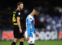 6th January 2020; Stadio San Paolo, Naples, Campania, Italy; Serie A Football, Napoli versus Inter Milan; Lorenzo Insigne of Napoli gets back into position after a strong challenge
