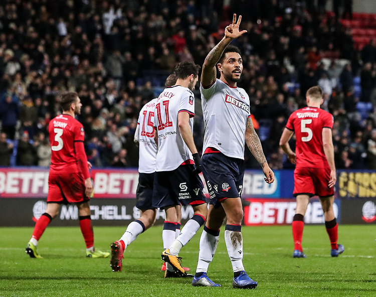 Bolton Wanderers' Josh Magennis celebrates scoring his side's second goal <br /> <br /> Photographer Andrew Kearns/CameraSport<br /> <br /> Emirates FA Cup Third Round - Bolton Wanderers v Walsall - Saturday 5th January 2019 - University of Bolton Stadium - Bolton<br />  <br /> World Copyright © 2019 CameraSport. All rights reserved. 43 Linden Ave. Countesthorpe. Leicester. England. LE8 5PG - Tel: +44 (0) 116 277 4147 - admin@camerasport.com - www.camerasport.com