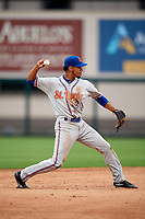 St. Lucie Mets shortstop J.C. Rodriguez (2) throws to first base during the second game of a doubleheader against the Lakeland Flying Tigers on June 10, 2017 at Joker Marchant Stadium in Lakeland, Florida.  Lakeland defeated St. Lucie 9-1.  (Mike Janes/Four Seam Images)