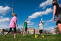 Mississippi State University students enjoy a game of spikeball on the Drill Field on a recent sunny afternoon. Pictured, from left to right, are Alaina O'Bryant, a sophomore elementary education major from Winona; Peyton Dungan, a sophomore civil engineering major from Prentiss; Taylor Davis, a sophomore microbiology major from Maben; and Davis Pidgeon, a sophomore industrial engineering major from Marietta, Georgia.<br />