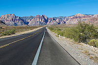 Red Rock Canyon, Nevada.  State Highway 159, Blue Diamond Road, Heading toward Red Rock Canyon.