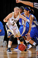 12 January 2012:  FIU guard Zsofia Labady (3) defends Middle Tennessee State guard Kortni Jones (24) in the second half as the Middle Tennessee State University Blue Raiders defeated the FIU Golden Panthers, 74-60, at the U.S. Century Bank Arena in Miami, Florida.