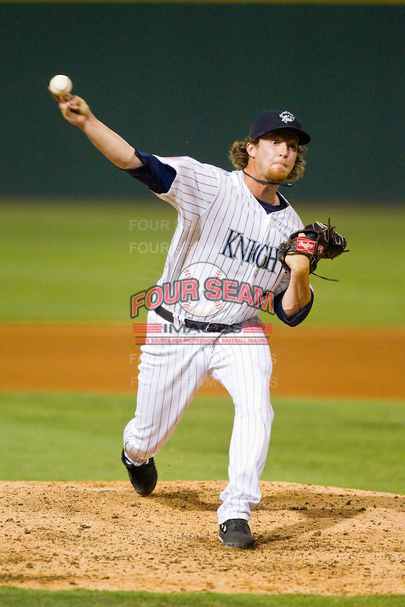 Charlotte Knights relief pitcher Daniel Webb (22) delivers a pitch to the plate against the Indianapolis Indians at Knights Stadium on July 22, 2012 in Fort Mill, South Carolina.  The Indians defeated the Knights 17-1.  (Brian Westerholt/Four Seam Images)