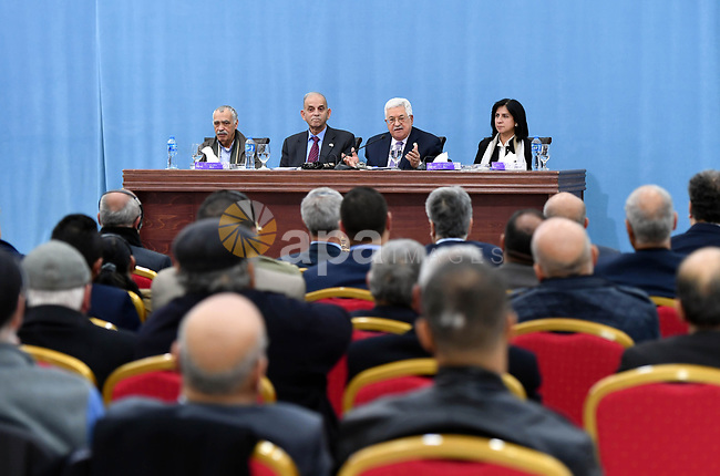 Palestinian President Mahmoud Abbas takes part in the Palestinian-Israeli Peace Forum, in the West Bank city of Ramallah on February 6, 2019. Photo by Thaer Ganaim