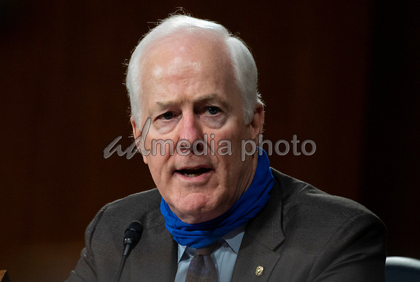"United States Senator John Cornyn (Republican of Texas) speaks during a Senate Finance Committee hearing on ""COVID-19 and Beyond: Oversight of the FDA's Foreign Drug Manufacturing Inspection Process"" at the US Capitol in Washington, DC on June 2, 2020.<br /> Credit: Andrew Caballero-Reynolds / Pool via CNP/AdMedia"