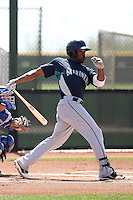 Joe Dunigan #1 of the Seattle Mariners plays in a minor league spring training game against the Kansas City Royals at the Royals minor league complex on March 26, 2011  in Surprise, Arizona. .Photo by:  Bill Mitchell/Four Seam Images.