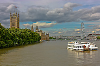 Looking along the River Thames in London