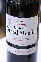 La Tour red. Chateau Grand Moulin. In Lezignan-Corbieres. Les Corbieres. Languedoc. France. Europe. Bottle.
