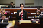 Nevada Assemblywoman Heidi Swank, D-Las Vegas, speaks on the Assembly floor at the Legislative Building in Carson City, Nev., on Tuesday, April 21, 2015. <br /> Photo by Cathleen Allison