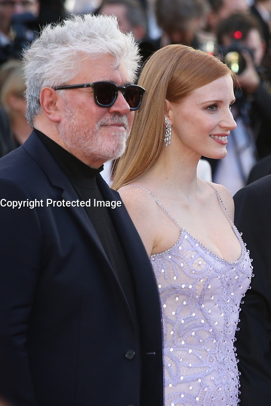 PEDRO ALMODOVAR AND JESSICA CHASTAIN - RED CARPET OF THE FILM 'OKJA' AT THE 70TH FESTIVAL OF CANNES 2017