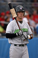 September 15 2008:  Justin Bass of the Jamestown Jammers, Class-A affiliate of the Florida Marlins, during a game at Dwyer Stadium in Batavia, NY.  Photo by:  Mike Janes/Four Seam Images