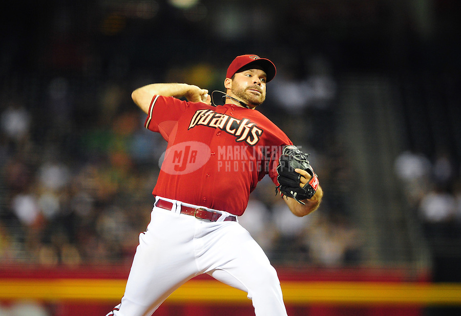May 4, 2011; Phoenix, AZ, USA; Arizona Diamondbacks pitcher Josh Collmenter against the Colorado Rockies at Chase Field. Mandatory Credit: Mark J. Rebilas-