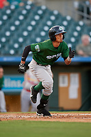 Daytona Tortugas left fielder Lorenzo Cedrola (5) runs to first base during a Florida State League game against the Palm Beach Cardinals on April 11, 2019 at Roger Dean Stadium in Jupiter, Florida.  Palm Beach defeated Daytona 6-0.  (Mike Janes/Four Seam Images)