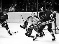 Seals vs St.Louis Blues 1972, goalie Gilles Meloche, Blues Brian Lavendar, and Christian Bordeleau( photo by Ron Riesterer)