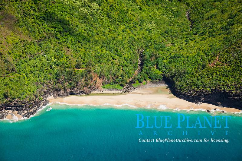Hanakapiai Beach, Hanakapiai Valley, Na Pali Coast, Kauai, Hawaii, USA, Pacific Ocean