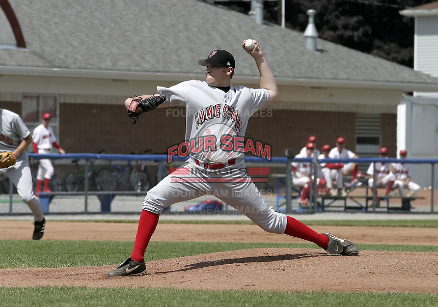 June 20, 2004:  Pitcher Jeff Gogal of the Jamestown Jammers, Single-A NY-Penn League affiliate of the Florida Marlins, during a game at Dwyer Stadium in Batavia, NY.  Photo by:  Mike Janes/Four Seam Images