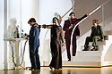 "London, UK. 13.03.2017. English National Opera preents Christopher Alden's production of ""Partenope"", by George Frederic Handel, at the London Coliseum.  Picture shows: Patricia Bardon (Arsace), Sarah Tynan (Partenope), Matthew Durkan (Ormonte), Stephanie Windsor-Lewis (Rosmira, disguised as Eurimine). Photograph © Jane Hobson."