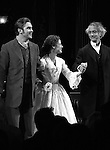 Dan Stevens, Jessica Chastain & David Strathairn during the Broadway Opening Night Performance Curtain Call for 'The Heiress' at The Walter Kerr Theatre on 11/01/2012 in New York.