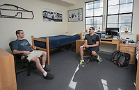 Roommates Greg Essayan '16 and Ari Chalian '16 (w/glasses) in their Berkus Hall room, April 19, 2016.<br /> (Photo by Marc Campos, Occidental College Photographer)