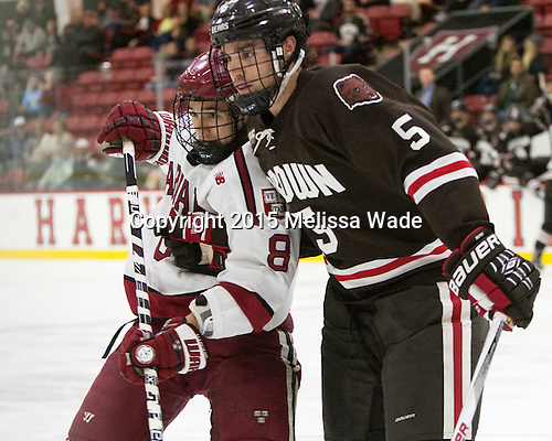 Victor Newell (Harvard - 8), Tyler Wood (Brown - 5) - The Harvard University Crimson defeated the visiting Brown University Brown Bears 5-2 (EN) on Saturday, November 7, 2015, at Bright-Landry Center in Boston, Massachusetts.