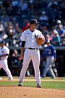 New York Yankees pitcher Michael King (73) during a Spring Training game against the Toronto Blue Jays on February 22, 2020 at the George M. Steinbrenner Field in Tampa, Florida.  (Mike Janes/Four Seam Images)