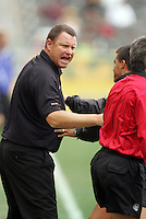 LA Galaxy head coach Steve Simpson argues with  RA about a non call on Donovan that would have awarded the Galaxy a penalty kick October 23, 2005 at the Home Depot Center vs the San Jose Earthquakes.