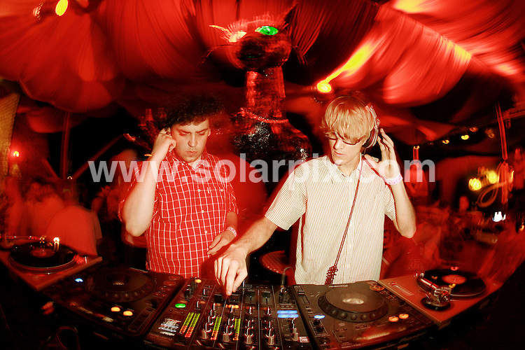 **ALL ROUND PICTURES FROM SOLARPIX.COM**.*WORLDWIDE RIGHTS*.Simian Mobile Disco DJ in Manumission, Privilege Nightclub , Ibiza, .JOB REF:   4352   GMT   DATE:  20th July 2007.**MUST CREDIT SOLARPIX.COM OR DOUBLE FEE WILL BE CHARGED* *UNDER NO CIRCUMSTANCES IS THIS IMAGE TO BE REPRODUCED FOR ANY ONLINE EDITION WITHOUT PRIOR PERMISSION*