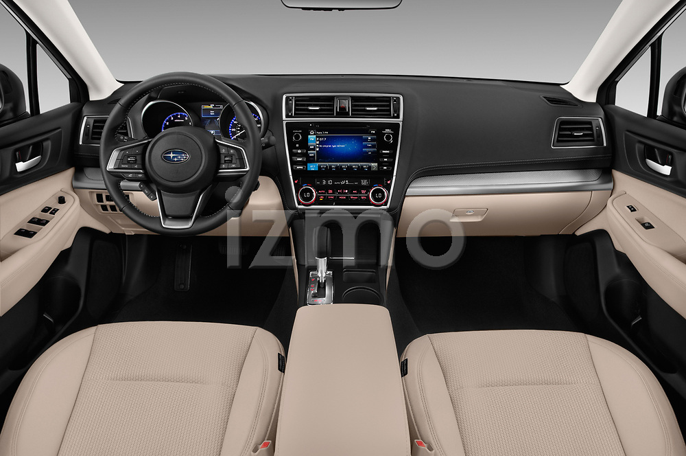 Stock photo of straight dashboard view of a 2018 Subaru Outback Premium 5 Door Wagon
