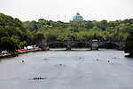 A view of a four man crew race during competition in the 68th Dad Vail Regatta on the Schuylkill River in Philadelphia, Pennsylvania on May 12, 2006........