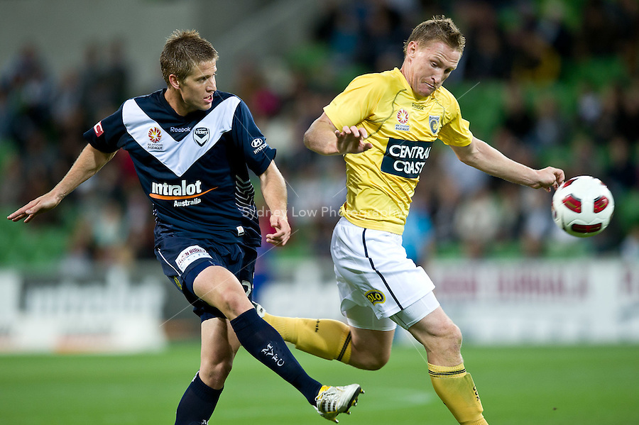 MELBOURNE, AUSTRALIA - NOVEMBER 18: Adrian Leijer of the Victory kicks the ball during the round 14 A-League match between the Melbourne Victory and Central Coast Mariners at AAMI Park on November 18, 2010 in Melbourne, Australia (Photo by Sydney Low / Asterisk Images)