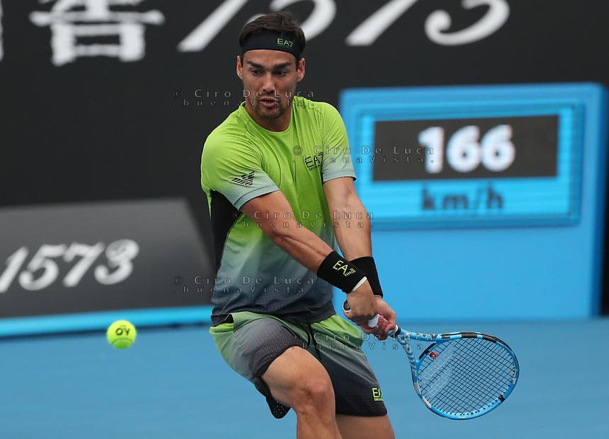 17th January 2019, Melbourne Park, Melbourne, Australia; Australian Open Tennis, day 4; Fabio Fognini of Italy returns the ball during a match against Leonardo Mayer of Argentina