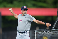 Elizabethton Twins hitting coach Jeff Reed (1) throws batting practice prior to the game against the Danville Braves at American Legion Post 325 Field on July 1, 2017 in Danville, Virginia.  The Twins defeated the Braves 7-4.  (Brian Westerholt/Four Seam Images)