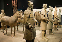 Terracotta warriors and horses on display in the Shaanxi History Museum, Xian, China