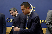 Roma, 2 Ottobre 2018<br /> Riccardo Fraccaro e Luigi Di Maio.<br /> Conferenza stampa di Movimento 5 Stelle e Lega per la presentazione delle proposte di riforma costituzionale e diminuzione del numero dei parlamentari
