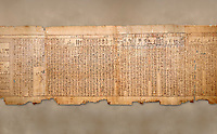 "Ancient Egyptian Book of the Dead papyrus - Spell 105 for gratifying the deceased with Ka, Iufankh's Book of the Dead, Ptolemaic period (332-30BC).Turin Egyptian Museum<br /> <br /> The spell is "" Hail to thee, my spirit, my lifetime. Behold I am come unto thee risen, powerful, posessed of a soul, mighty.<br /> <br /> You who weighs in the balance. may truth rise to the nose of Ra, on that day of judgement, ley not my head be taken away from me.""<br /> <br /> The translation of  Iuefankh's Book of the Dead papyrus by Richard Lepsius marked a truning point in the studies of ancient Egyptian funereal studies."
