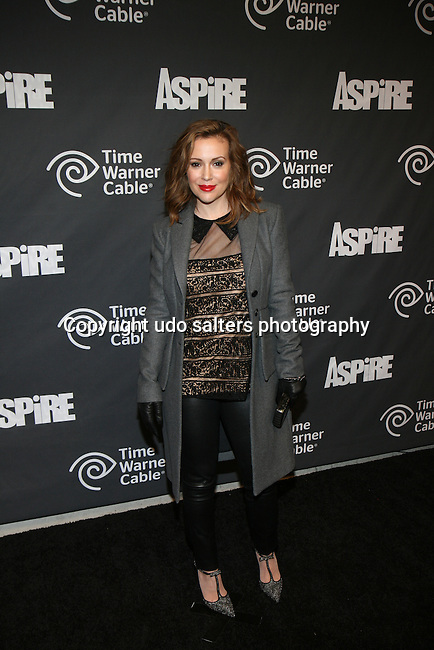 "Alyssa Milano Attends ASPiRE presents the Super 70s Soul Party Hosted Earvin ""Magic"" Johnson  at Time Warner Cable Studio Highline Stages, NY"